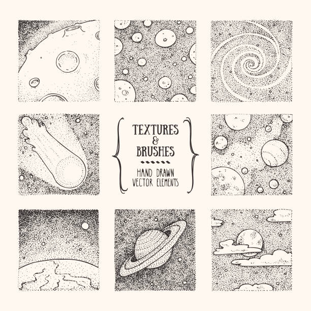 illustrazioni stock, clip art, cartoni animati e icone di tendenza di cosmos, space exploration hand drawn clipart illustrations. artistic square design template collection. vector set isolatad on white background. - puntinismo