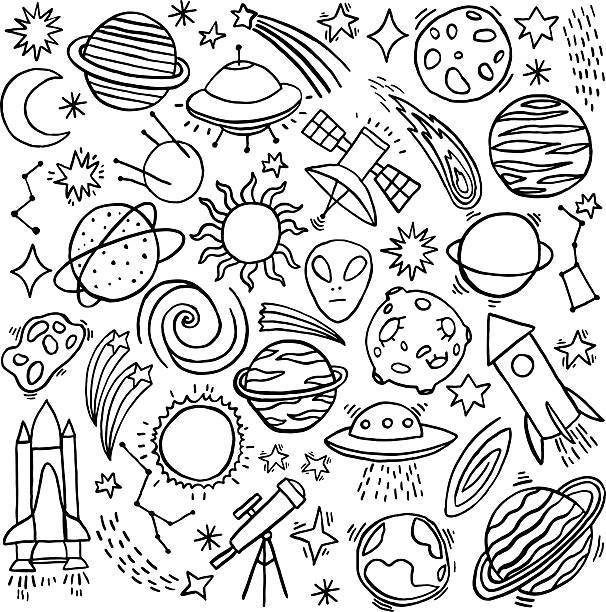 Cosmos space hand-drawn doodle icon set - Illustration vectorielle
