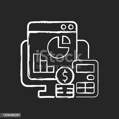 istock Cost management chalk white icon on dark background 1329485287