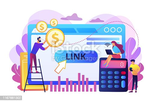 Business analytics, commerce metrics, SEO. Cost per acquisition CPA model, cost per conversion, online advertising pricing model concept. Bright vibrant violet vector isolated illustration