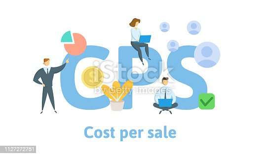 CPS, cost per sale. Concept with keywords, letters, and icons. Colored flat vector illustration. Isolated on white background.