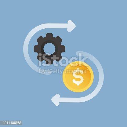 Cost Ratio Flat Icon. Flat Vector Illustration Symbol Design Element