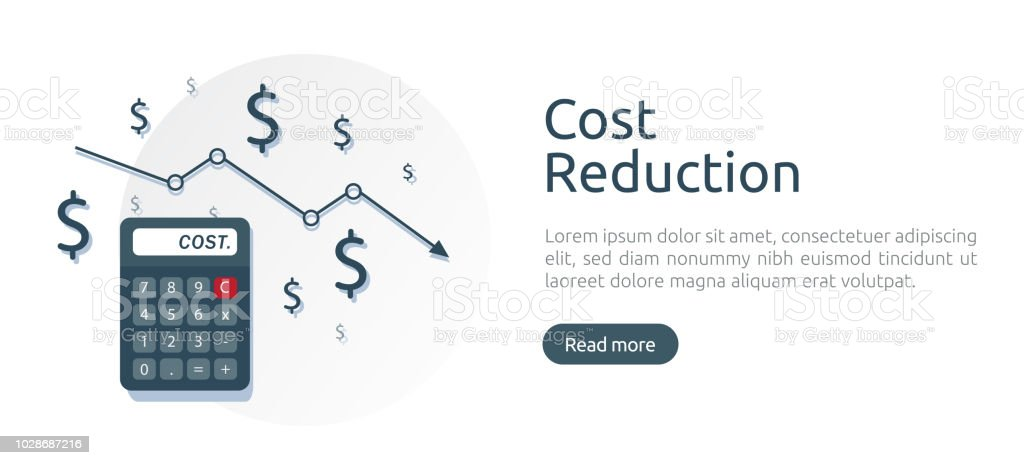 cost reduction concept calculator and arrow line decrease dollar
