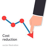 Cost reduction concept. Cost down. Businessman with his hand lowers the arrow of the graph. Decrease down profit. Declining chart. Vector illustration flat design. Isolated on background.