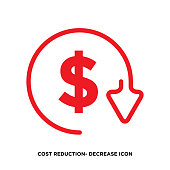 istock Cost reduction- decrease icon. Vector symbol image isolated on background stock illustration 1286375770