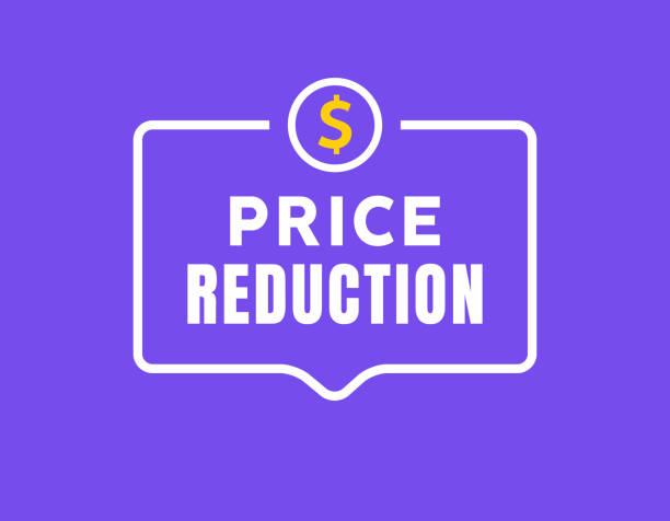 비용 절감 아이콘 달러. 가격 감소 화살표 기호입니다. 사업 판매, 표시 그림 - 가격 stock illustrations