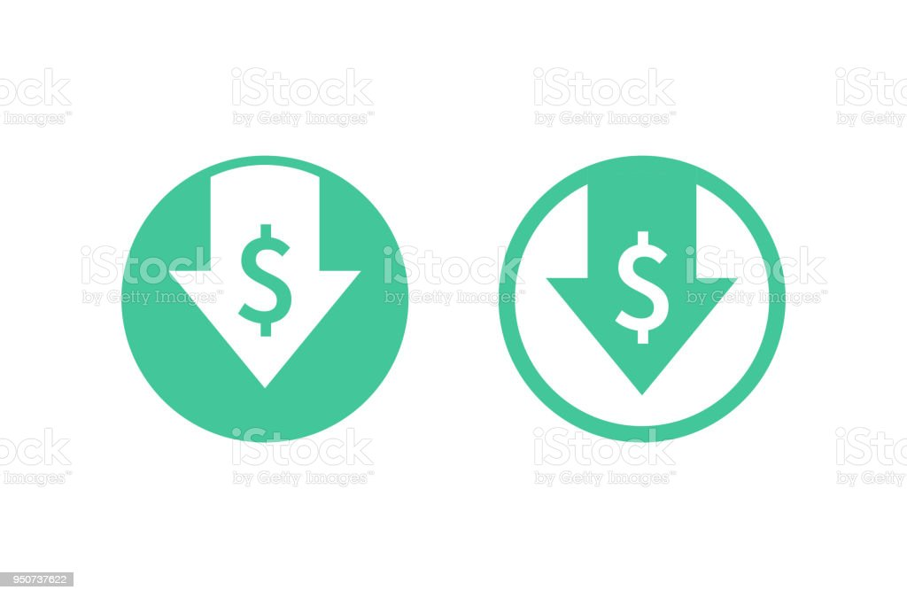 Cost reduction icon. Image isolated on white background. Vector illustration. - Royalty-free Arrow - Bow and Arrow stock vector
