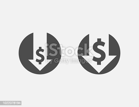 Cost reduction icon isolated on white background. Vector illustration. Eps 10.