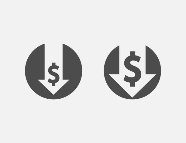 Cost reduction icon isolated on white background. Vector illustration. Cost reduction icon isolated on white background. Vector illustration. Eps 10. recession stock illustrations