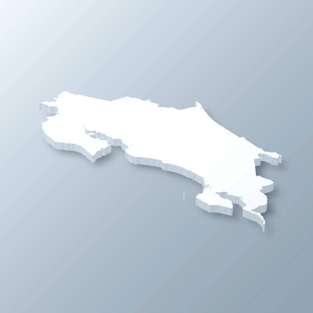 Costa Rica 3D Map on gray background vector art illustration