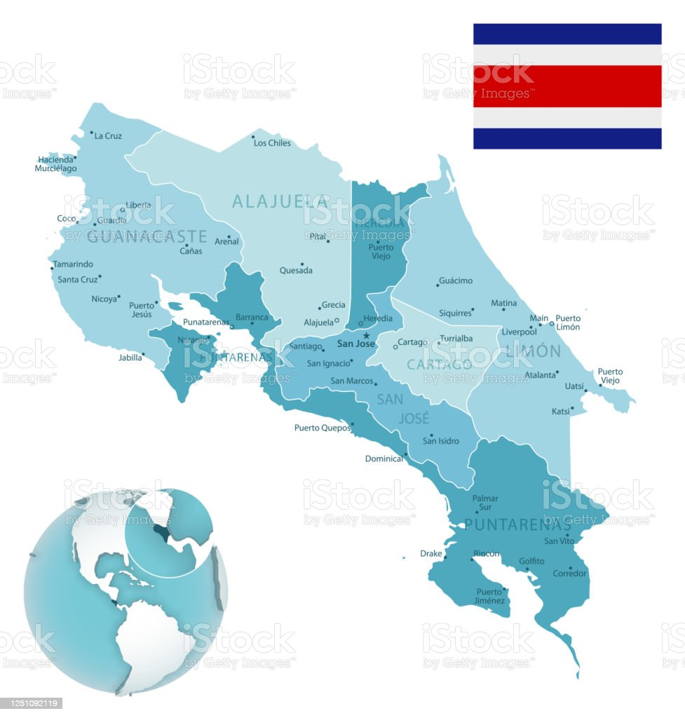 Image of: Costa Rica Administrative Bluegreen Map With Country Flag And Location On A Globe Stock Illustration Download Image Now Istock