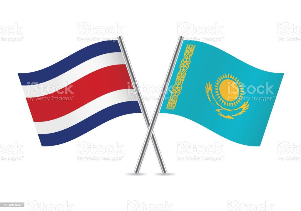 Drapeaux de Costa Rica et le Kazakhstan. Illustration vectorielle. - Illustration vectorielle