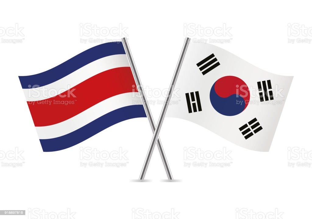 Costa Rica and South Korea flags. Vector illustration. vector art illustration