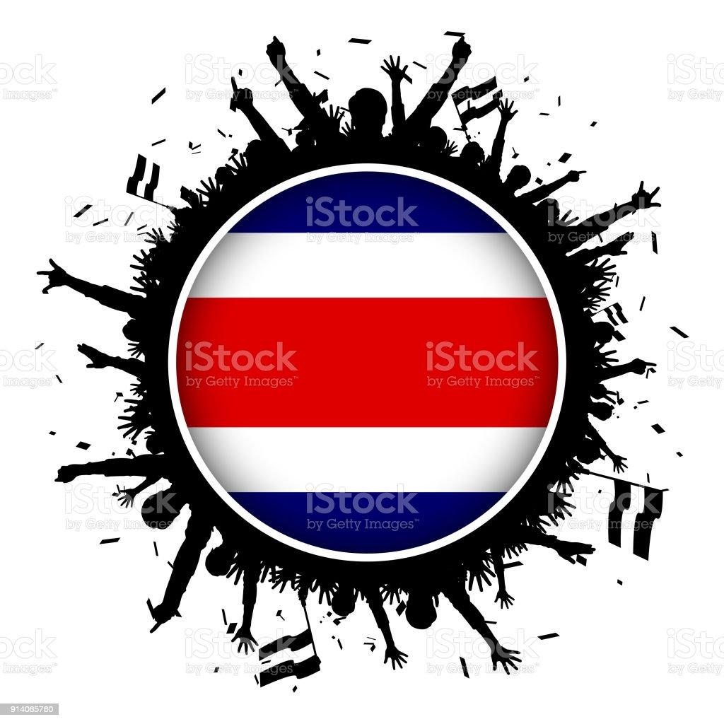 dbcf43b743eee Costa Rica Bandera de botón con los fanáticos del fútbol 2018 ilustración  de costa rica bandera