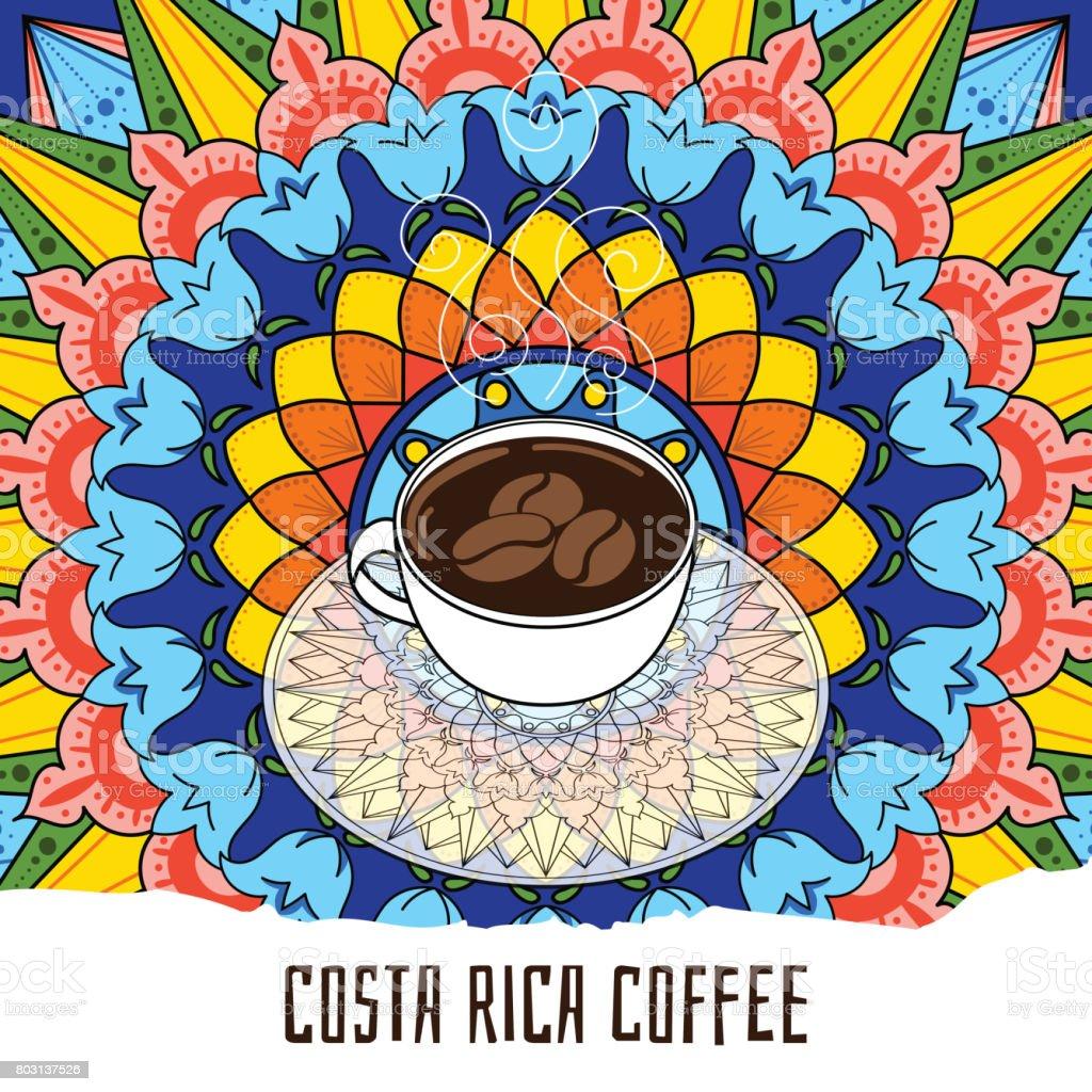 Ilustración colorido café Costa Rica - ilustración de arte vectorial