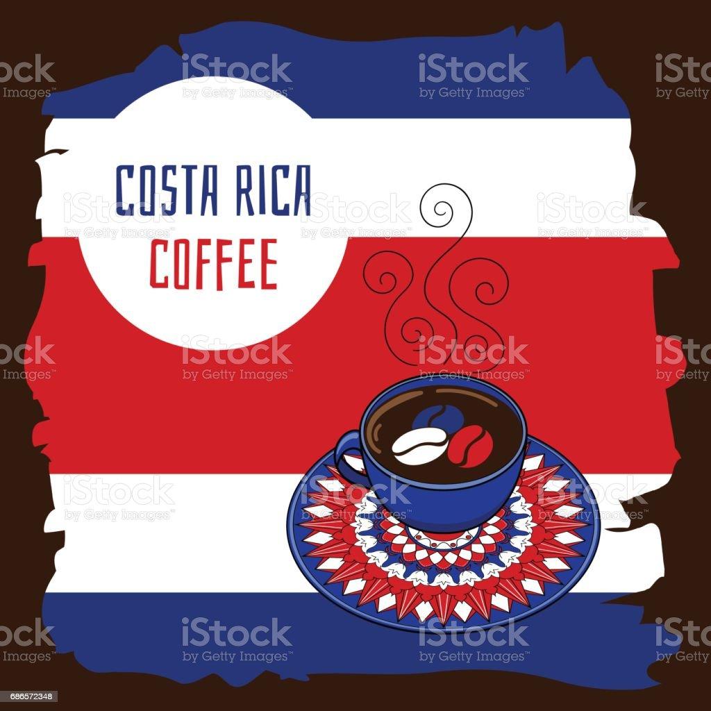 Ilustración de café de Costa Rica - ilustración de arte vectorial