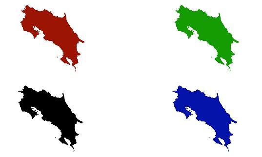 Costa Rica country map silhouette in central America