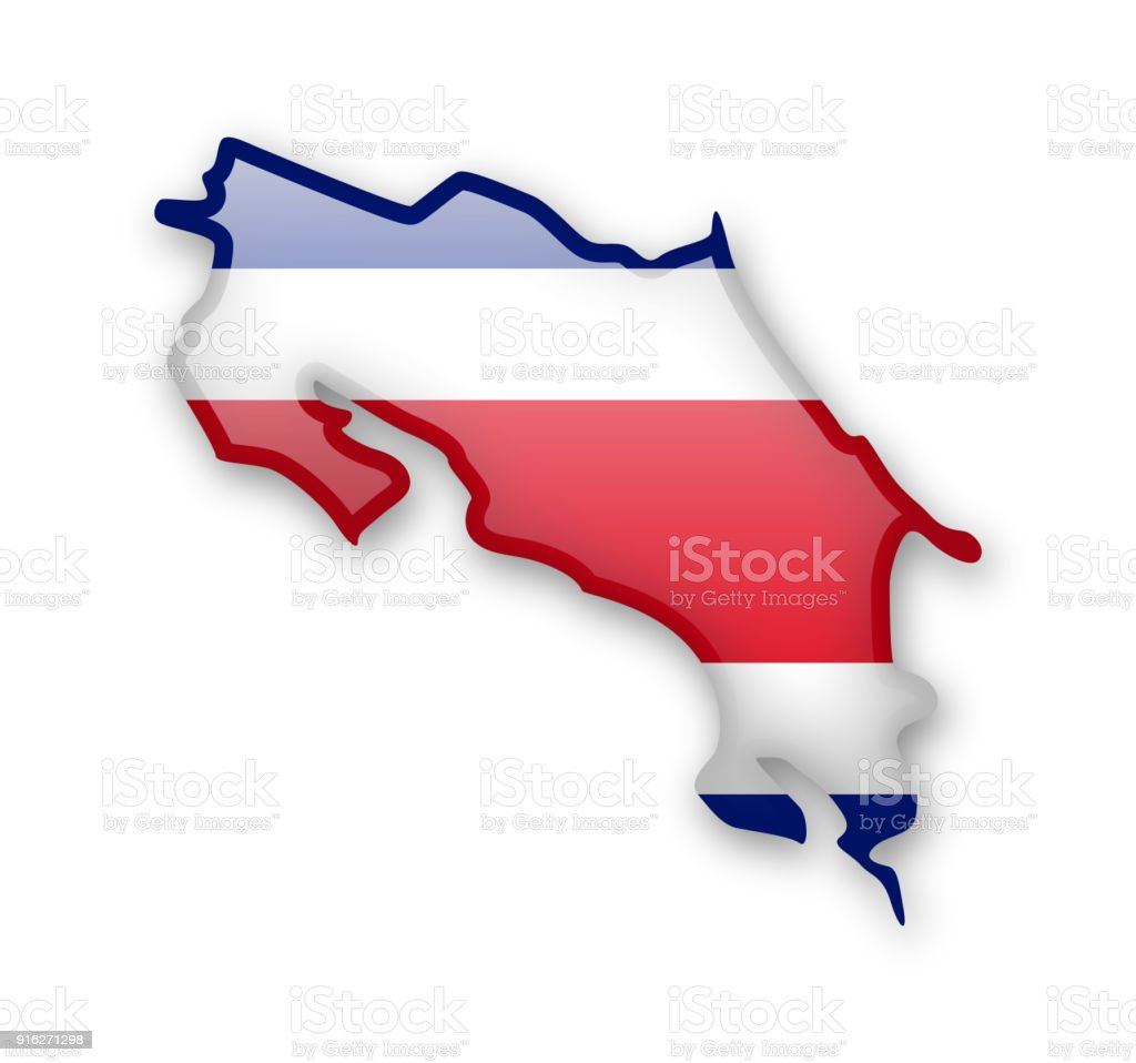 Bandera de Costa Rica y el contorno del país. - ilustración de arte vectorial