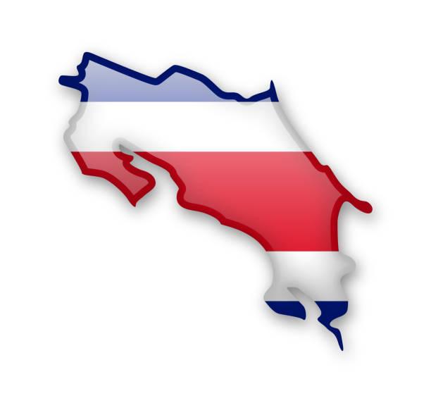 Costa Rica Flagge und Kontur des Landes. – Vektorgrafik
