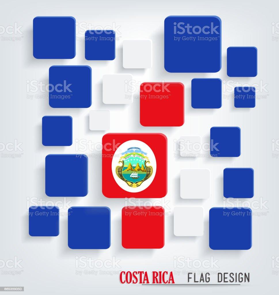 Costa Rica Bandera cubo diseño - ilustración de arte vectorial