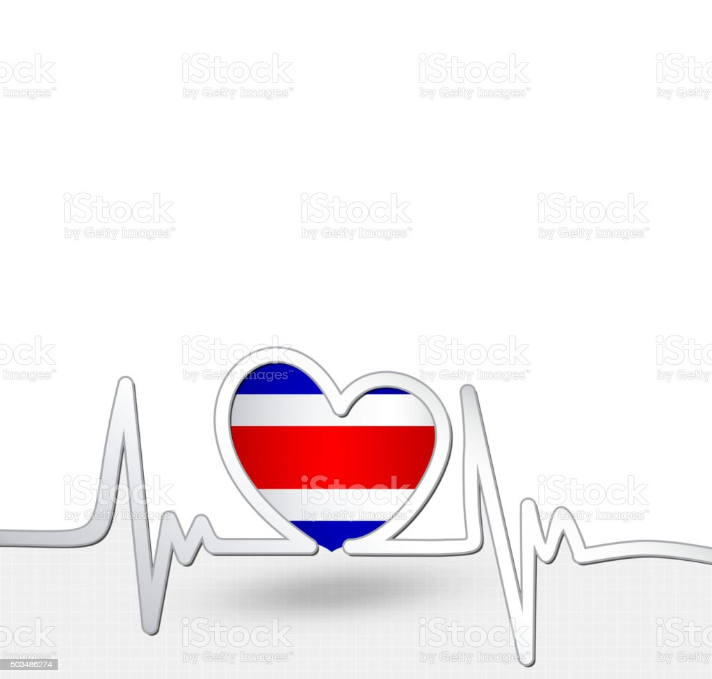 Costa Rica flag heart and heartbeat line vector art illustration
