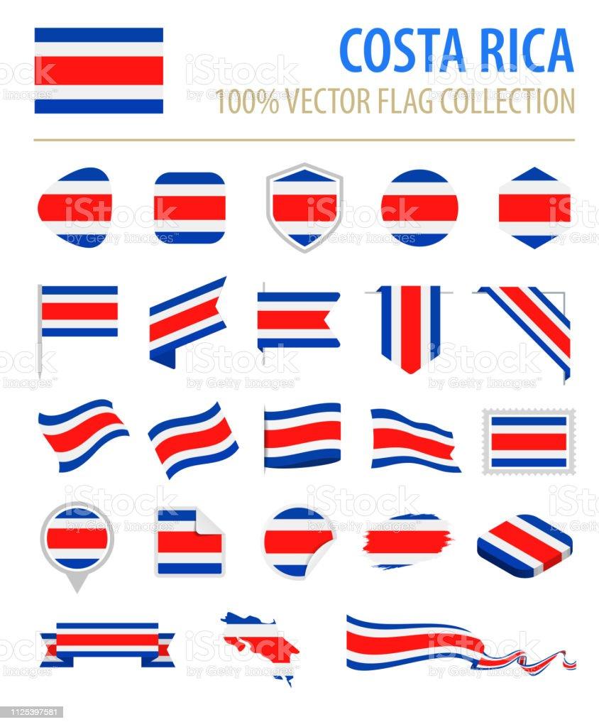 Costa Rica - Bandera icono Vector plano conjunto - ilustración de arte vectorial