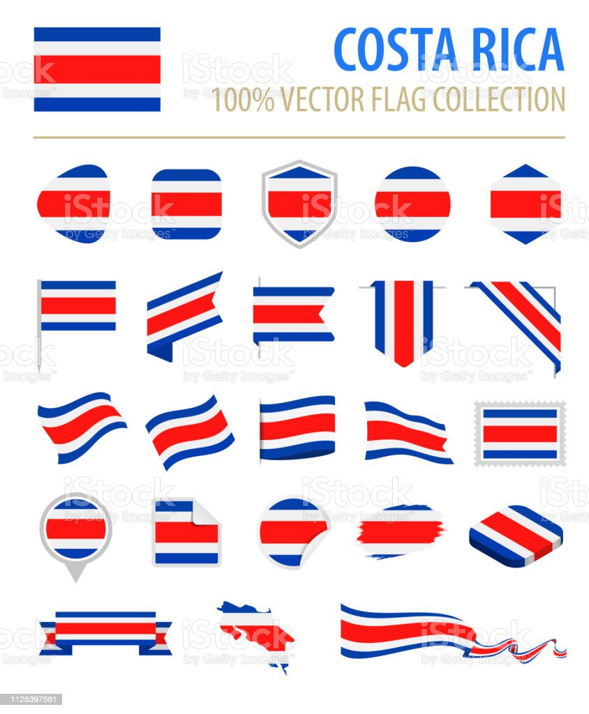 Costa Rica - Flag Icon Set Vector plate - Illustration vectorielle
