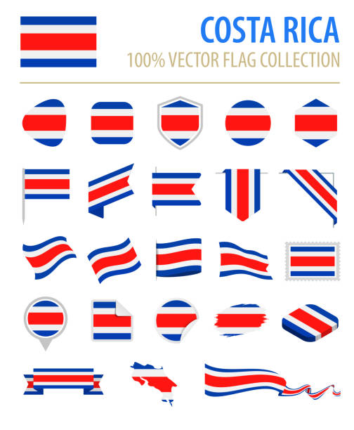 Costa Rica - Flag Icon Flat Vector Set vector art illustration
