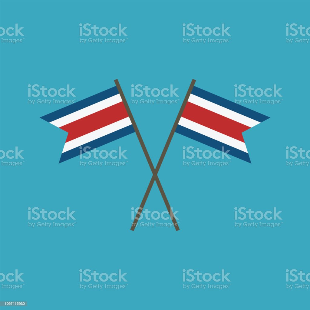 Costa Rica flag icon in flat design vector art illustration