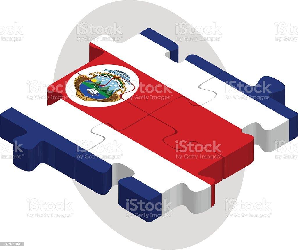 Bandera de Costa Rica en puzzle - ilustración de arte vectorial