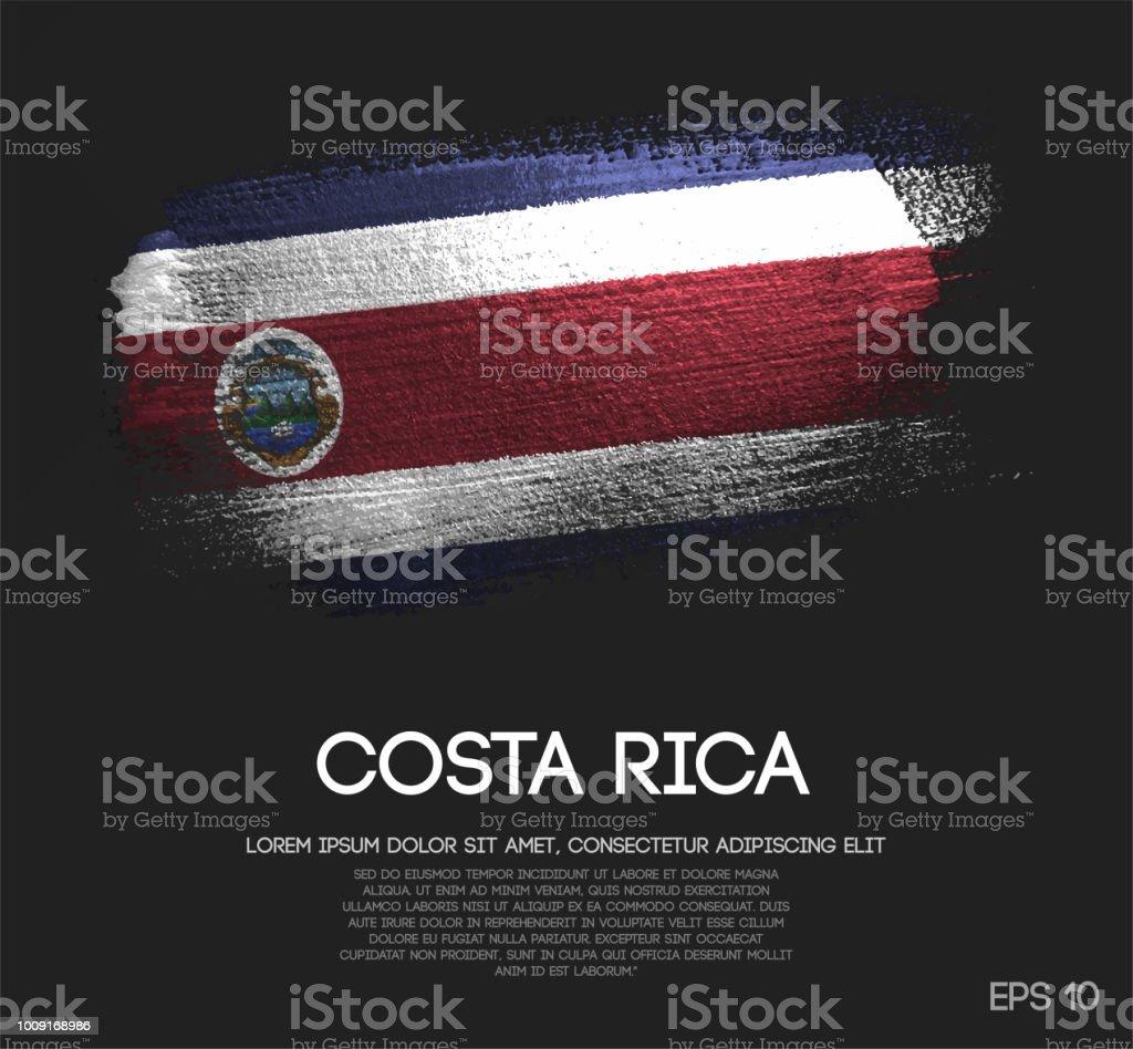 Drapeau de Costa Rica fait de paillettes Sparkle brosse peinture vectorielle - Illustration vectorielle
