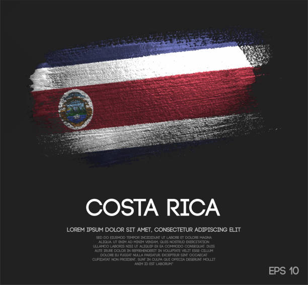 Costa Rica Flag Made of Glitter Sparkle Brush Paint Vector vector art illustration