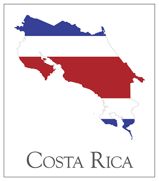 Costa Rica flag map vector art illustration
