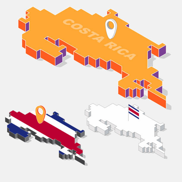 Costa Rica flag on map element with 3D isometric shape isolated on background, vector illustration vector art illustration