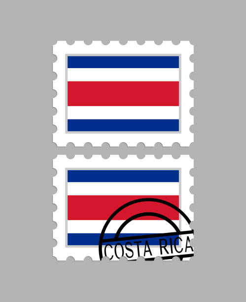 Costa Rica Flagge auf Briefmarken – Vektorgrafik