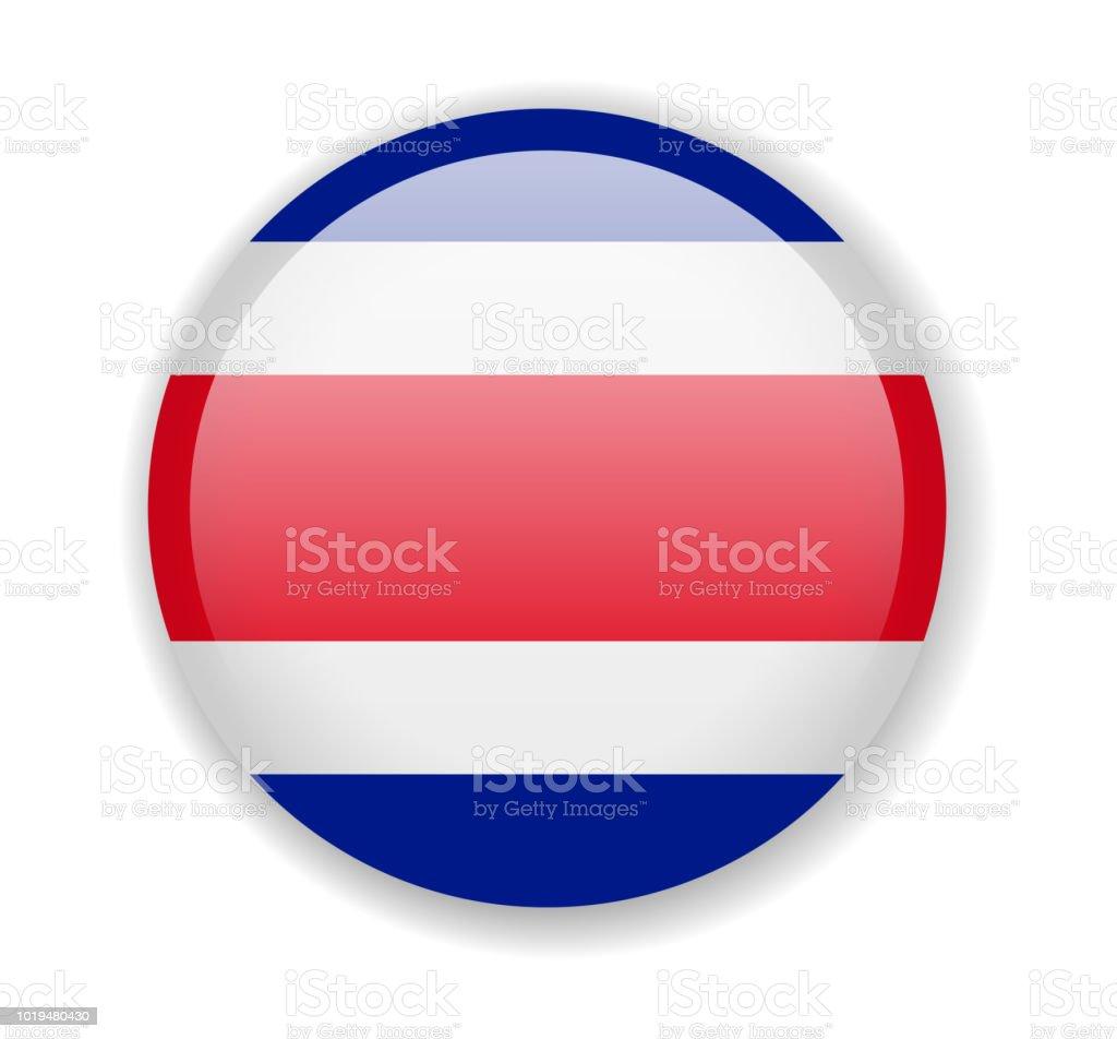 Bandera de Costa Rica. Icono redondo brillante sobre un fondo blanco - ilustración de arte vectorial