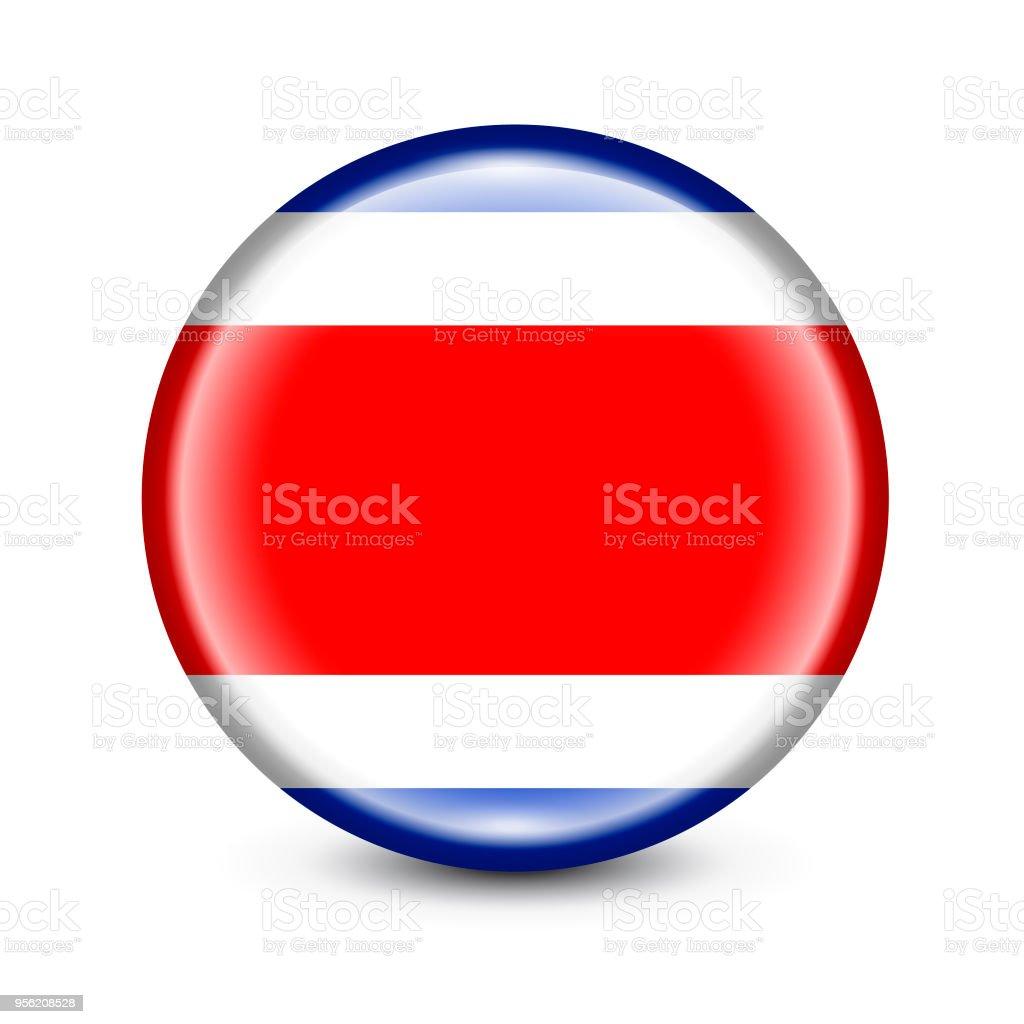 Botón redondo de bandera de Costa Rica. Ilustración de vector - ilustración de arte vectorial
