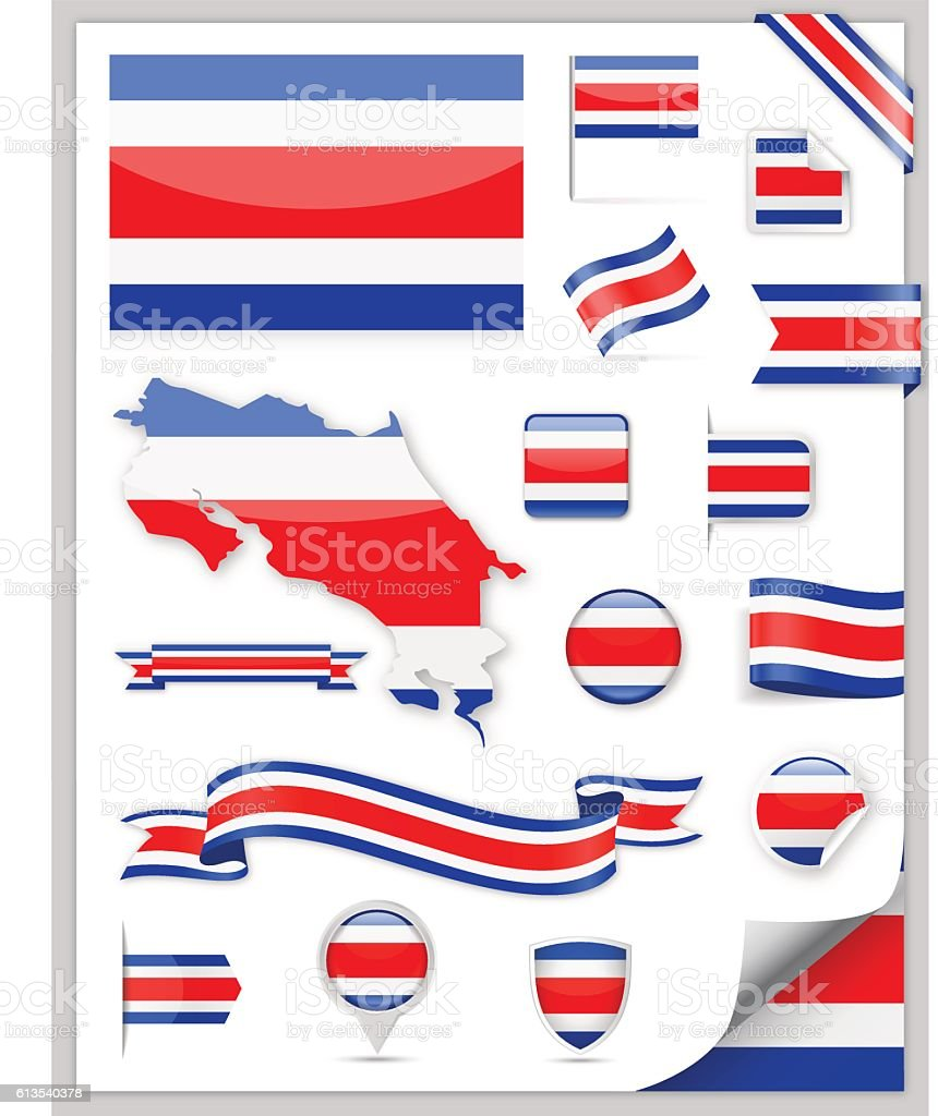 Costa Rica Flag Set - Vector Collection – Vektorgrafik