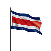Costa Rica national flag, vector illustration on a white background