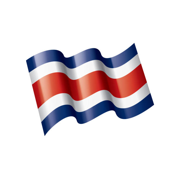 Costa Rica flag, vector illustration on a white background vector art illustration