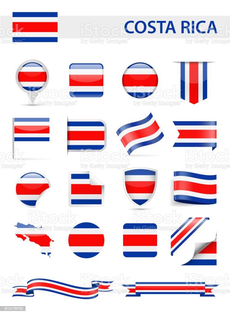 Conjunto de Vector de bandera de Costa Rica - ilustración de arte vectorial