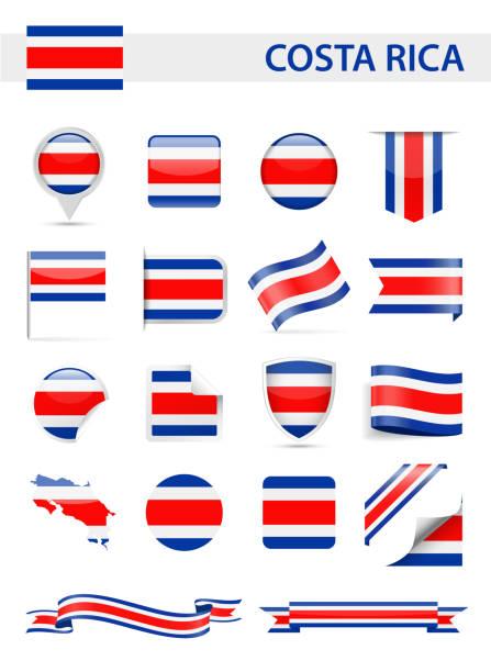 Costa Rica Flagge Vektor-Set – Vektorgrafik
