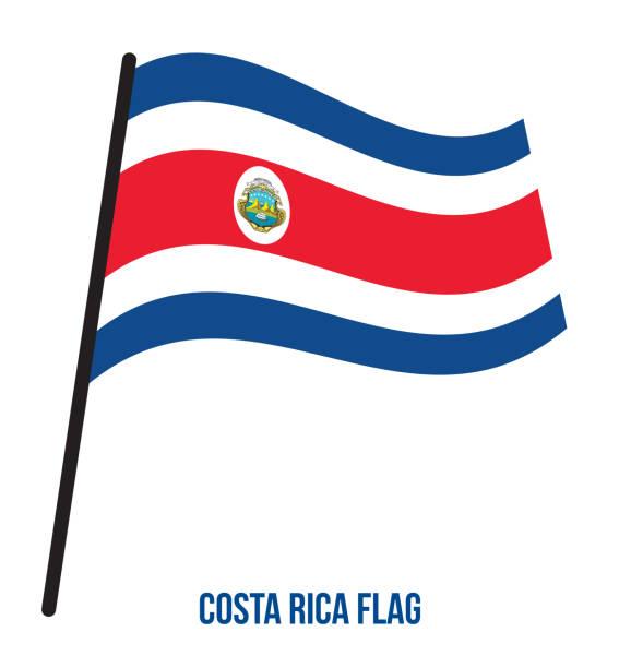 Costa Rica Flagge winken Vektor-Illustration auf weißem Hintergrund. Costa Rica Nationalflagge – Vektorgrafik