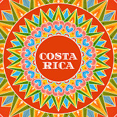 Costa Rica illustration vector. Traditional decorated coffee carreta ornament wheel pattern design for tourist postcard, resort banner or travel flyer.