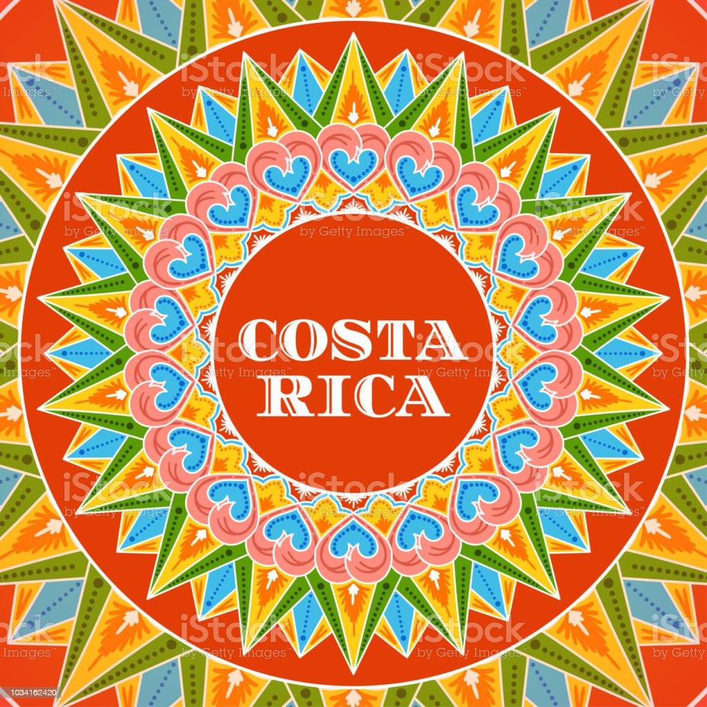 Vector de ilustración de Costa Rica. Diseño de patrón de rueda café decorado tradicional carreta ornamento de postal turística, recurren banner o folleto de viaje. - ilustración de arte vectorial