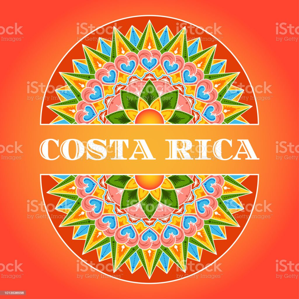 Vector de ilustración de Costa Rica. Patrón tradicional decorado de café carreta adorno disco tarjeta día de la independencia, bandera de viaje o turismo complejo diseño de flyer. - ilustración de arte vectorial