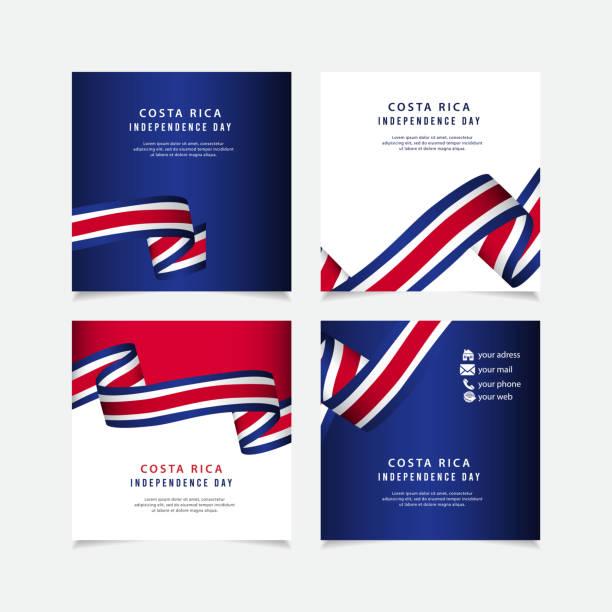 stockillustraties, clipart, cartoons en iconen met costa rica independence day vector sjabloon. ontwerp voor banner; wenskaarten of afdrukken. - indonesische cultuur