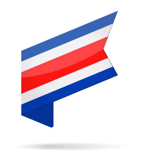 Costa Rica - Isometric Label Flag Vector Glossy Icon vector art illustration