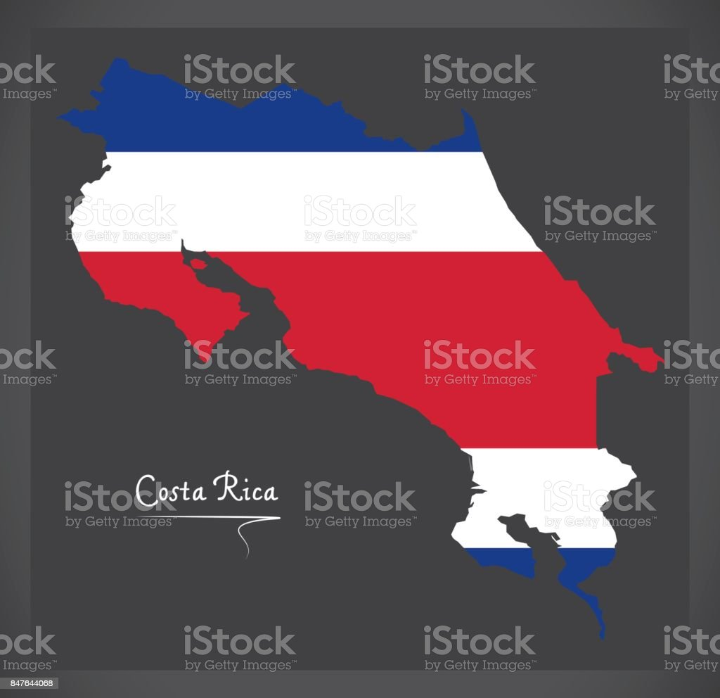 Costa Rica mainland map with national flag illustration vector art illustration