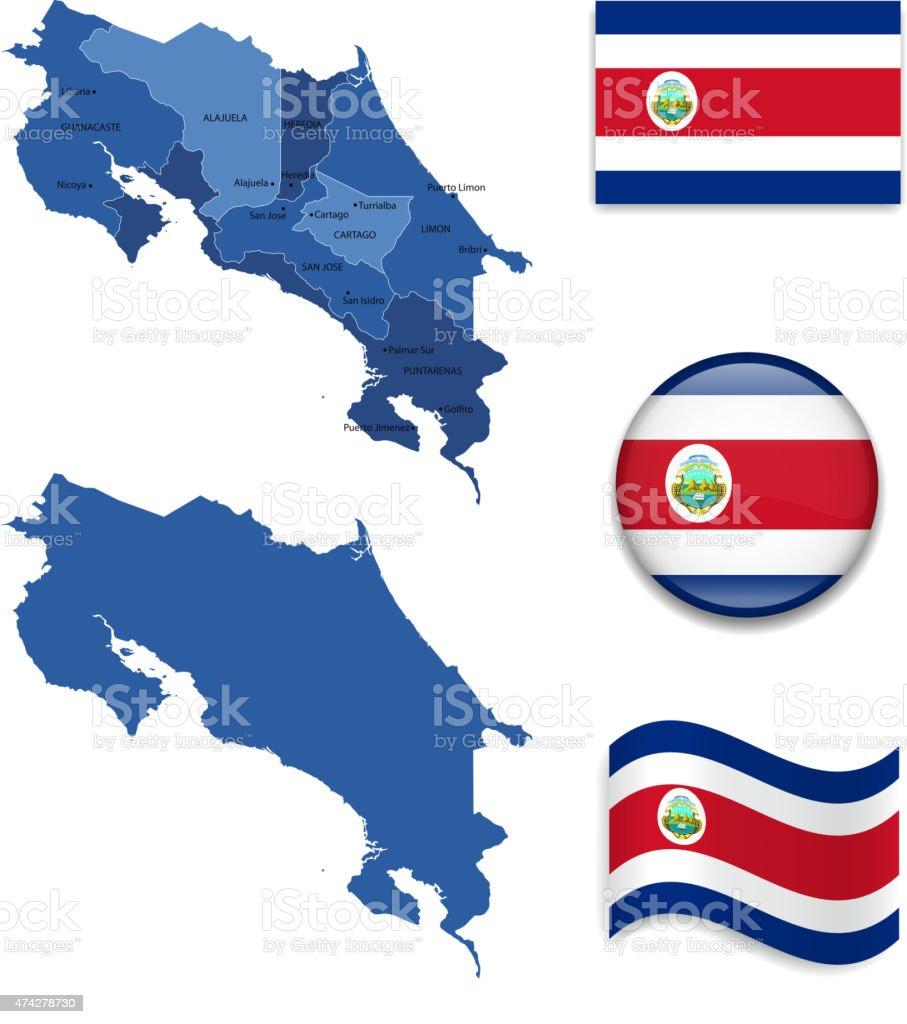 Mapa de Costa Rica y bandera de - ilustración de arte vectorial